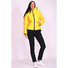Womens Mustard Yellow Quilted Padded Puffer Bubble Collar Warm Thick Jacket Coat