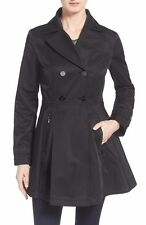 LAUNDRY By SHELLI SEGAL Women's Black Double Breasted Skirted Trench Rain Coat