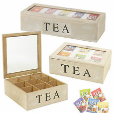 5 6 or 9 Compartments Wooden Tea Box Hinged Lid tea Bag Storage BOX Kitchen Home