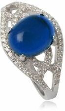 Simulated Sapphire Ring Blue  925 Sterling Silver Rhodium Plated