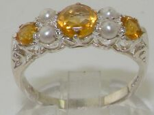 English Hallmarked Solid 925 Sterling Silver Natural Citrine Pearl Ring