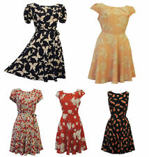 New Vintage Nostalgia 1930's 1940's WW2 Style Wartime Floral Pattern Tea dresses