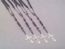 Rosary All-BLACK Facet Beads Silver Tone Accents & Crucifix Necklace GREAT GIFT!