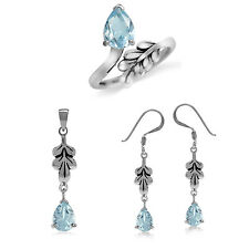 Genuine Blue Topaz 925 Sterling Silver Leaf Earrings, Pendant or Ring