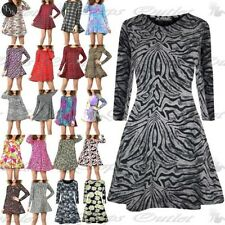 Womens Ladies Stretchy Celebrity Printed Long Sleeve Skater Top Mini Swing Dress
