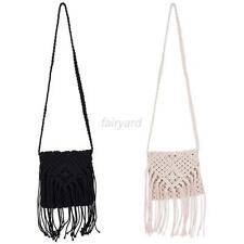 Women Crochet Fringe Tassel Shoulder Bag Layered Cross Body Messenger Hand bag