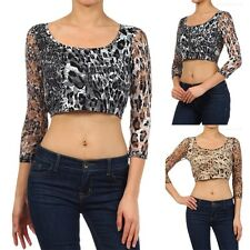 Leopard Print Lace 3/4 Sleeve Cropped Top Sheer Sexy Stylish Spandex S M L