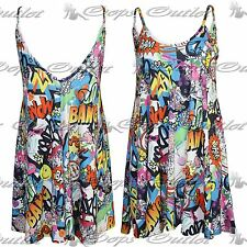 Womens Multi Floral Vest Camisole Ladies Thin Strap Sleeveless Flared Mini Top