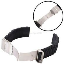 Waterproof Mens Silicone Rubber Watch Strap Band with Deployment Clasp Black
