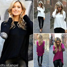 US Fashion Womens Autumn Loose Tops Round Neck Long Sleeve T-Shirt Casual Blouse