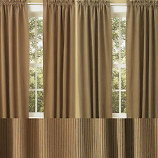 """Sturbridge Patch Wine or Black Ticking Drapery Panels by Park Designs 84"""" or 96"""""""