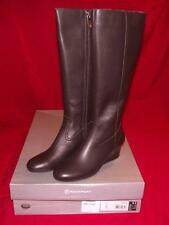 NEW NIB Rockport Womens Alisanna Tall Brown Leather Wedge Heel Riding Boots $170
