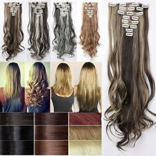 100% Good Full Head Clip In Hair Extension Extensions Real Thick As Human TG4