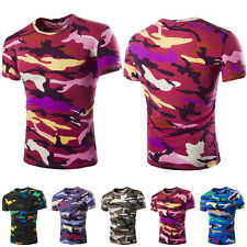 Popular Mens Crew Neck Casual T-Shirt Short Sleeve Slim Fit Cool Camouflage Tops
