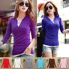 New Women Sexy Stylish V Neck Blouse Slim Fit Bottoming Shirt Long Sleeve Tops