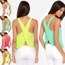 Fashion Womens Plain Summer Sleeveless Blouse Casual Tank Top T-Shirt Vest Top