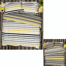 3 Pce Fairhaven Charcoal Striped Reversible Quilt Cover Set by Ardor QUEEN KING