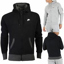 Mens Nike Foundation Full Zip Up Hoody Side Pockets Swoosh Hooded Tracksuit Top
