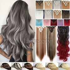 Extra THICK Clip In Hair Extensions Full Head curly straight 8 piece as human T4