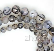 Natural Fire Agate Round Gem Stone Loose Beads Strand Jewelry Making DIY