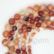 """Natural Red Agate Round Gem Stone Loose Beads 15"""" long Strand Jewelry Making"""