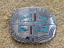ANTIQUE ZUNI SILVER INLAY BELT BUCKLE ORIGINAL