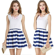 Sexy Women Summer Striped Casual Dress Sleeveless Sundress Cocktail Mini Dresses