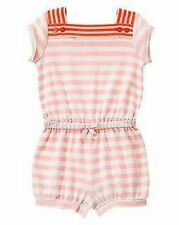 NWT Gymboree Girls Cute on the Coast Coral Pink Striped Romper Size 4T & 5T
