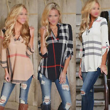 Fashion Women Ladies Casual T-Shirt Plaid Long Sleeve Shirt Loose Blouse Tops
