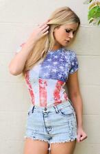 Sexy American USA Flag Distressed Burnt out Festival Patriotic T-shirt top New