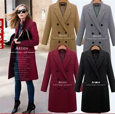 Womens Double Breasted Winter wool blend Long Trench Coat jacket plus size hot