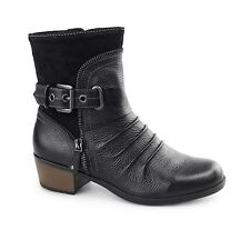 Earth Spirit EDMUND Ladies Womens Side Zip & Buckle Up Casual Ankle Boots Black