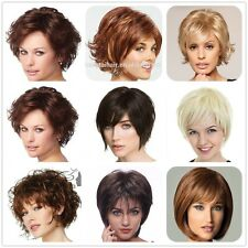 Real Sexy Short Hair Wig 100% Natural Curly Straight Synthetic Full Head Wigs US