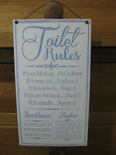 Metal Retro Wall Sign Tin Plaque Vintage Funny  - Toilet Rules