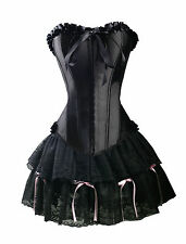 Sexy Black Satin Corset Size S GOTHIC Lolita Bustier Lace Mini Skirt   WC