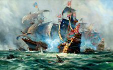 Canvas Print Oil painting Picture Sea Ancient warships printed on canvas L348