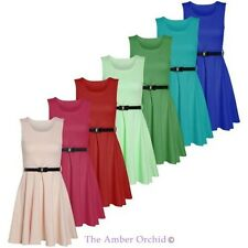 Womens Ladies Belted Skater Sleeveless Flared Dress Top Party Plus Size UK 8-26