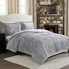 Super Soft Gray Frosted Faux Fur Reversible Comforter 3 Pc Set Queen or King