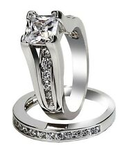 Womens Wedding Rings Stainless Steel Princess CZ Engagement Ring Size 5 -11