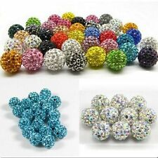 20 PCS Crystal Rhinestone Pave Clay Round Disco Ball Loose Beads 8/10/12 mm DIY