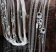 TOP 1mm/2mm Snake Chain Necklace Wholesale lots Silver Plated Chains 18~24inch