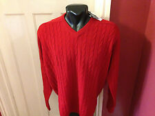 Viyella V-Neck Jumper, Cable Knit, Red, Hinchliffe Lambswool, All Sizes, BNWT