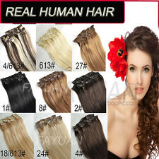 20COLORS FASHION CLIP IN REAL HUMAN HAIR EXTENSIONS 15-30INCH 70-100G 7-8PCS