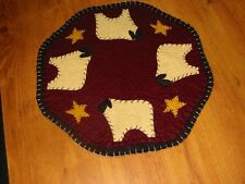 Primitive Candle Mat - Woolfelt Penny Rug- Sheep 9""