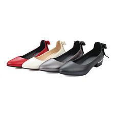 Cute Womens Flat Heels Shoes Shallow Mouth Pointed Bowknot Pumps US Size BD7310