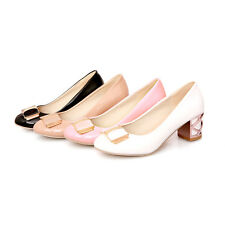 Cute Womens Middle Heels Shoes Round-toe Shallow Mouth Bowknot Pumps US Size