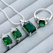 New Women Green Rhinestone Pendant Necklace Earrings Ring Jewelry Set Fashion