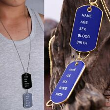 Black Blue Men's Simple Army Military ID 2 Dog Tags Pendant Necklace Jewelry