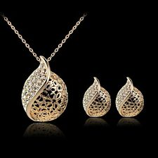 18K Teardrop Bridal Wedding Crystal Necklace Rhinestone Earrings Jewelry Set