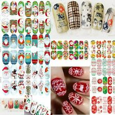 3D Water Transfer Christmas Design Nail Art Stickers Decals Xmas Accessories